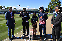 ANZ Coin toss winner with captains Kane Williamson and Eoin Morgan.<br /> New Zealand Blackcaps v England. 5th ODI International one day cricket, Hagley Oval, Christchurch. New Zealand. Saturday 10 March 2018. &copy; Copyright Photo: Andrew Cornaga / www.Photosport.nz