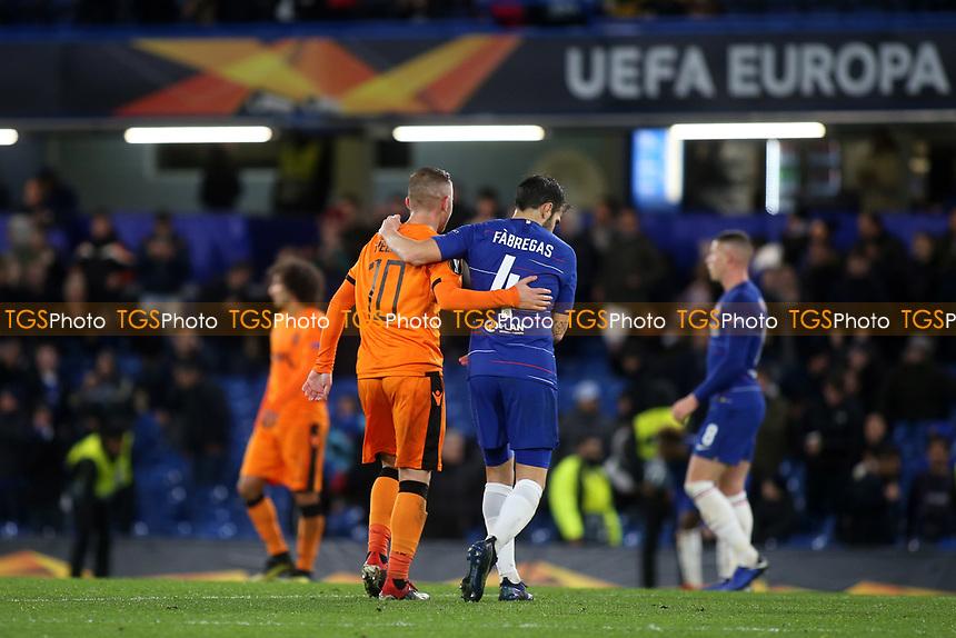 Dimitris Pelkas of PAOK Salonika embraces Chelsea's Cesc Fabregas at the final whistle during Chelsea vs PAOK Salonika, UEFA Europa League Football at Stamford Bridge on 29th November 2018