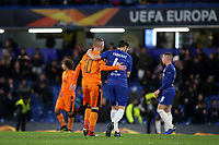 Dimitris Pelkas of PAOK Salonika embraces Chelsea's Cesc Fabregas at the final whistle during Chelsea vs PAOK Salonika, UEFA Europa League Football at Stamford Bridge on 29th November 2018