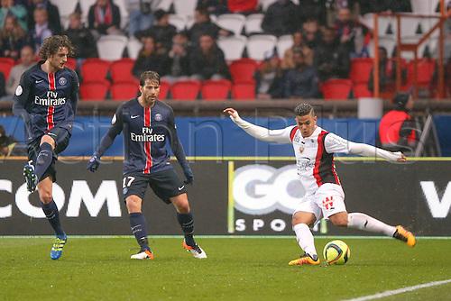 02.04.2016. Paris, France. French League 1 football. Paris St Germain versus Nice.  Hatem Ben Arfa (OGC Nice), Maxwell Scherrer Cabelino Andrade (psg), Adrien Rabiot (psg)