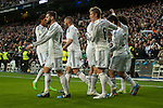 Real Madrid´s Karim Benzema, Toni Kroos, Marcelo Vieira, Nacho Fernandez, Raphael Varane and Isco celebrates a goal during 2014-15 La Liga match between Real Madrid and Deportivo de la Coruna at Santiago Bernabeu stadium in Madrid, Spain. February 14, 2015. (ALTERPHOTOS/Luis Fernandez)
