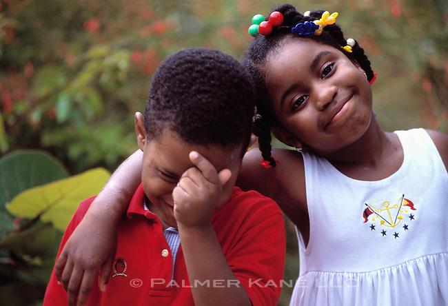 Portrait of African American Siblings Making Faces