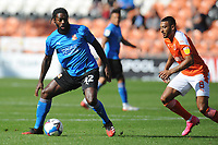 Swindon Town's Anthony Grant under pressure from Blackpool's Keshi Anderson<br /> <br /> Photographer Kevin Barnes/CameraSport<br /> <br /> The EFL Sky Bet League One - Blackpool v Swindon Town - Saturday 19th September 2020 - Bloomfield Road - Blackpool<br /> <br /> World Copyright © 2020 CameraSport. All rights reserved. 43 Linden Ave. Countesthorpe. Leicester. England. LE8 5PG - Tel: +44 (0) 116 277 4147 - admin@camerasport.com - www.camerasport.com