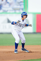 Chase Vallot (8) of the Burlington Royals takes his lead off of second base against the Johnson City Cardinals at Burlington Athletic Park on July 14, 2014 in Burlington, North Carolina.  The Cardinals defeated the Royals 9-4.  (Brian Westerholt/Four Seam Images)