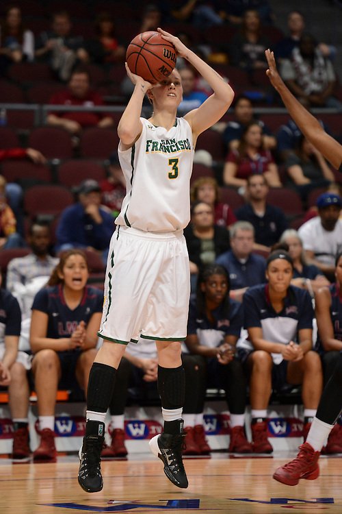 March 6, 2014; Las Vegas, NV, USA; San Francisco Lady Dons forward Paige Spietz (3) shoots the ball against the Loyola Marymount Lions during the first half of the WCC Basketball Championships at Orleans Arena.