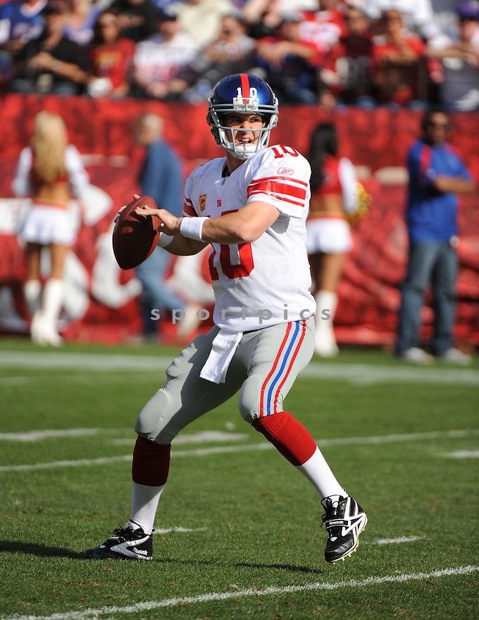 ELI MANNING, of the New York Giants, in action during the Giants game against the San Francisco 49ers on November 13, 2011 at Candlestick Park in San Francisco, CA. The 49ers beat the Giants 27-20.