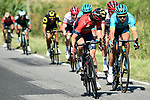 Magnus Cort Nielsen (DEN) Astana Pro Team, Ion Izagirre (ESP) Bahrain-Merida and Bauke Mollema (NED) Trek-Segafredo attack from the breakaway group during Stage 15 of the 2018 Tour de France running 181.5km from Millau to Carcassonne, France. 22nd July 2018. <br /> Picture: ASO/Alex Broadway | Cyclefile<br /> All photos usage must carry mandatory copyright credit (&copy; Cyclefile | ASO/Alex Broadway)