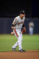 Aberdeen Ironbirds shortstop Joseph Ortiz (27) during a NY-Penn League game against the Staten Island Yankees on August 22, 2019 at Richmond County Bank Ballpark in Staten Island, New York.  Aberdeen defeated Staten Island 4-1 in a rain shortened game.  (Mike Janes/Four Seam Images)