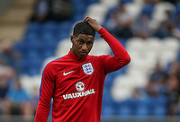 Marcus Rashford (Manchester United) of England scratches his head during the International EURO U21 QUALIFYING - GROUP 9 match between England U21 and Norway U21 at the Weston Homes Community Stadium, Colchester, England on 6 September 2016. Photo by Andy Rowland / PRiME Media Images.