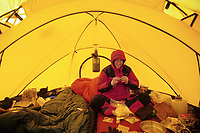 Winter base camp, Twaharpies glacier, North face tent, Wrangell St. Elias Mountain range, Wrangell St. Elias National Park, Alaska