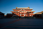 Photo shows the main Seiden hall inside the grounds of Shuri-jo Castle in Naha, Okinawa Prefecture, Japan, on June 24, 2012. Seiden functioned as the central structure of the Ryukyu kingdom for over 500 years and was restored in 1992. Photographer: Robert Gilhooly