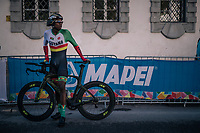 John Briton (GUY) after finishing<br /> <br /> MEN JUNIOR INDIVIDUAL TIME TRIAL<br /> Hall-Wattens to Innsbruck: 27.8 km<br /> <br /> UCI 2018 Road World Championships<br /> Innsbruck - Tirol / Austria