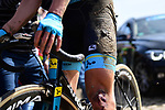 Bruised, blooded and mud splattered during the 116th edition of Paris-Roubaix 2018. 8th April 2018.<br /> Picture: ASO/Pauline Ballet | Cyclefile<br /> <br /> <br /> All photos usage must carry mandatory copyright credit (&copy; Cyclefile | ASO/Pauline Ballet)