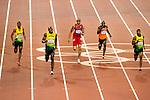 Engeland, London, 9 augustus 2012.Olympische Spelen London.Usain Bolt wint de goudenmedaille. Churandy Martina wordt vijfde in de finale van de 200m voor mannen op de Olympische spelen van London