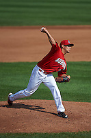 Auburn Doubledays pitcher Luis Torres (11) delivers a pitch during a game against the Batavia Muckdogs on September 7, 2015 at Falcon Park in Auburn, New York.  Auburn defeated Batavia 11-10 in ten innings.  (Mike Janes/Four Seam Images)