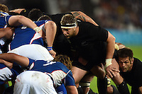 Wyatt Crockett of New Zealand prepares to scrummage against his opposite number. Rugby World Cup Pool C match between New Zealand and Namibia on September 24, 2015 at The Stadium, Queen Elizabeth Olympic Park in London, England. Photo by: Patrick Khachfe / Onside Images