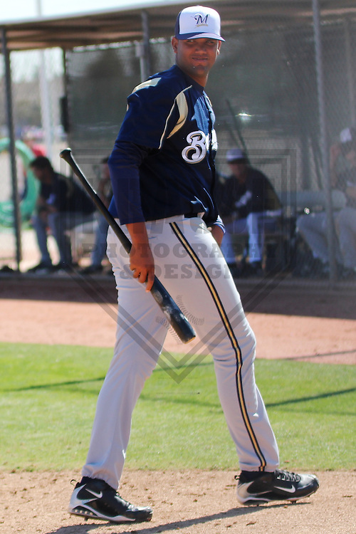 MARYVALE - March 2013: Carlos Sosa of the Milwaukee Brewers during a Spring Training practice on March 11, 2013 at Maryvale Baseball Park in Maryvale, Arizona. (Photo by Brad Krause). ...