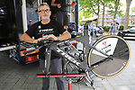Trek-Segafredo team mechanics work on the team bikes outside press conference in Dusseldorf before the 104th edition of the Tour de France 2017, Dusseldorf, Germany. 30th June 2017.<br /> Picture: Eoin Clarke | Cyclefile<br /> <br /> <br /> All photos usage must carry mandatory copyright credit (&copy; Cyclefile | Eoin Clarke)