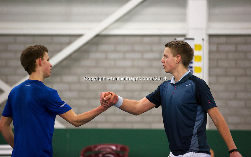 Rotterdam, The Netherlands, 07.03.2014. NOJK ,National Indoor Juniors Championships of 2014, 12and 16 years, Tom Moonen (NED)(R) receives congratulations for making it to the final from hes opponent Michiel de Krom<br /> Photo:Tennisimages/Henk Koster