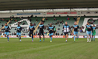 Wycombe players warm up ahead of the Sky Bet League 2 match between Plymouth Argyle and Wycombe Wanderers at Home Park, Plymouth, England on 30 January 2016. Photo by Mark  Hawkins / PRiME Media Images.