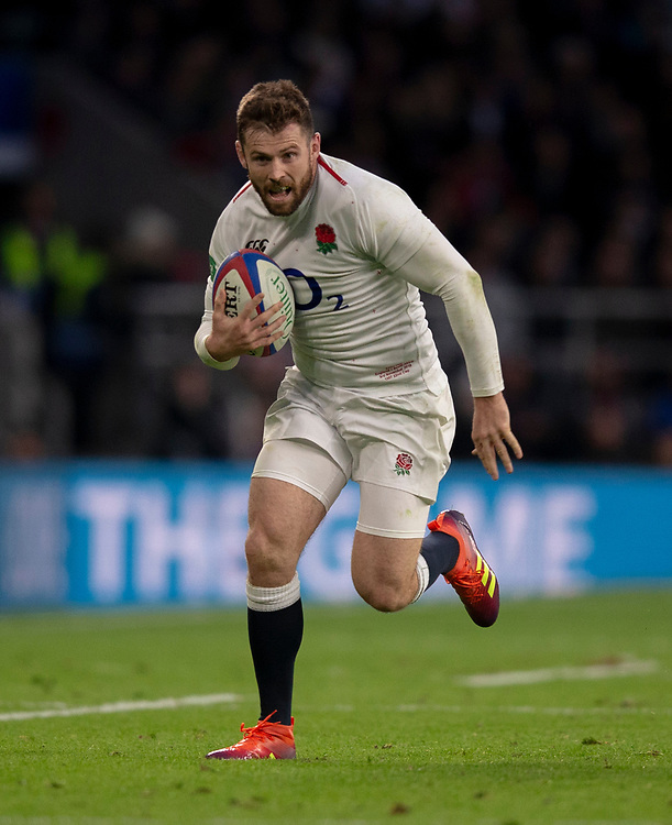 England's Elliot Daly<br /> <br /> Photographer Bob Bradford/CameraSport<br /> <br /> Quilter Internationals - England v South Africa - Saturday 3rd November 2018 - Twickenham Stadium - London<br /> <br /> World Copyright © 2018 CameraSport. All rights reserved. 43 Linden Ave. Countesthorpe. Leicester. England. LE8 5PG - Tel: +44 (0) 116 277 4147 - admin@camerasport.com - www.camerasport.com