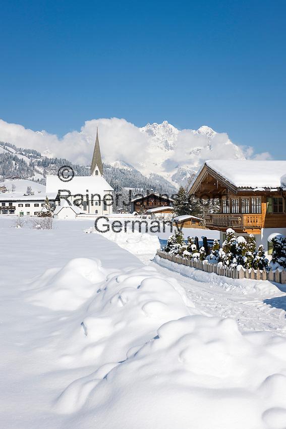 Austria, Tyrol, Reith near Kitzbuhel at Brixen Valley: at background Wilder Kaiser mountains | Oesterreich, Tirol, Reith bei Kitzbuehel im Brixental: im Hintergrund der Wilde Kaiser