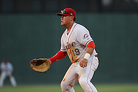 First baseman Cisco Tellez (48) of the Greenville Drive plays a ground ball in a game against the Rome Braves on Monday, June 15, 2015, at Fluor Field at the West End in Greenville, South Carolina. Greenville won, 9-3. (Tom Priddy/Four Seam Images)