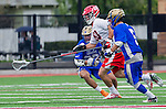 Orange, CA 03-05-17 - Zach Muduryan (UCLA #5), Jeff  Shriver (Chapman #60) and Jordan Robertson (UCLA #27) in action during the UCLA - Champman Southern Lacrosse Conference MCLA Division 1 Men's Lacrosse game.
