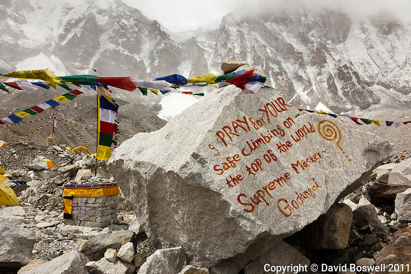 A blessing left on a large rock at Everest Base Camp in Nepal.