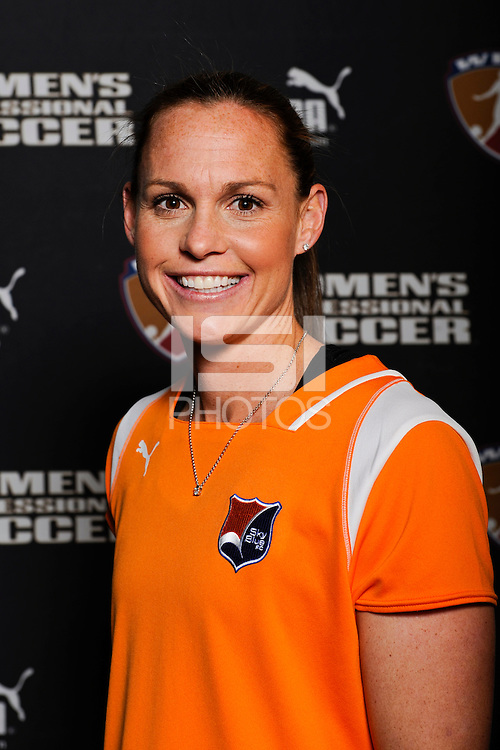 Christie Rampone of Sky Blue FC during the unveiling of the Women's Professional Soccer uniforms at the Event Place in Manhattan, NY, on February 24, 2009. Photo by Howard C. Smith/isiphotos.com