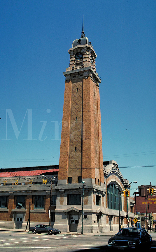 Tower of the West Side Market, Cleveland, OH. May not be used in an elementary school dictionary. Cleveland Ohio USA.