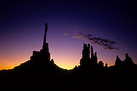 The Totem Poles rock pillars at sunrise in Monument Valley National Park and navaho Indian reservation,  Utah, USA