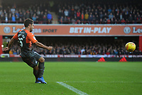 Wayne Routledge of Swansea City does a robana cross that leads to a goal during the Sky Bet Championship match between Brentford and Swansea City at Griffin Park, Brentford, England, UK. Saturday 08 December 2018