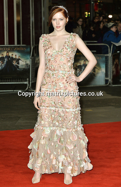 NON EXCLUSIVE PICTURE: MATRIXPICTURES.CO.UK<br /> PLEASE CREDIT ALL USES<br /> <br /> WORLD RIGHTS<br /> <br /> Actress Ellie Bamber attending the Pride And Prejudice And Zombies European Film Premiere, at Vue West End cinema in London.<br /> <br /> FEBRUARY 1st 2016<br /> <br /> REF: JWN 16273