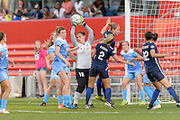 Bridgeview, IL, USA - Sunday, May 29, 2016: Chicago Red Stars goalkeeper Michele Dalton (18) secures the ball during a regular season National Women's Soccer League match between the Chicago Red Stars and Sky Blue FC at Toyota Park. The game ended in a 1-1 tie.