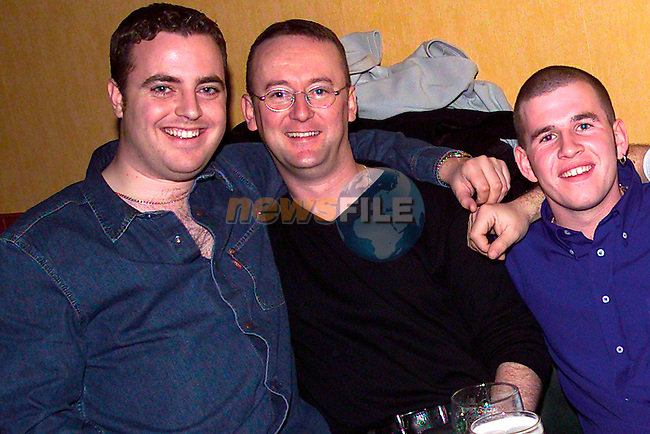 Niall Whelan, Michael Black and Richard Barrett enjoying a night out in Solas..Picture: Paul Mohan/Newsfile
