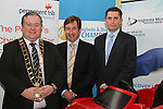 Mayor Paul Bell with Nicky Smith and Robert Murray, Permanent TSB Car Finance at the Drogheda Motor Show Launch Night in the d Hotel...Picture Jenny Matthews/Newsfile.ie