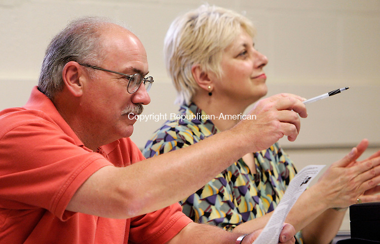 SEYMOUR, CT - 11 JULY 2005 -071105JS03--Seymour Democratic Town Committe members Paul Roy, left and Melanie Kalako, right, introduce their choices for candidates for the next election. Both have been nominated as candadites for Board of Selectman.    --Jim Shannon Photo--Melanie Kalako; Seymour, Paul Roy are CQ