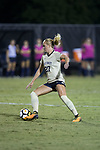 Monreau DeVos (27) of the Wake Forest Demon Deacons controls the ball during second half action against the Pitt Panthers at Spry Soccer Stadium on September 15, 2017 in Winston-Salem, North Carolina.  The Demon Deacons defeated the Panthers 2-0.  (Brian Westerholt/Four Seam Images)