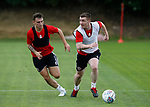 Nathan Thomas and John Fleck during the training session at the Shirecliffe Training complex, Sheffield. Picture date: June 27th 2017. Pic credit should read: Simon Bellis/Sportimage