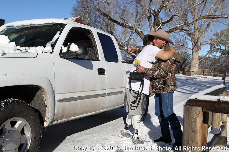 LaVoy Finicum, right, hugs James Stanton, from Ft. Sumner, NM, at the Malheur National Wildlife Reserve on January 15, 2016 in Burns, Oregon.  Stanton drove all the way from New Mexico with his truck loaded with supplies to give to the activists.   ©2016. Jim Bryant Photo. All Rights Reserved.