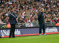England head coach Fabio Capello (left) and U.S. head coach Bob Bradley. The United States Men's National Team lost to England 2-0 in an international friendly at Wembley Stadium, London, England. May 28, 2008.