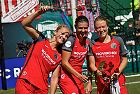 Portland, OR - Saturday September 02, 2017: Lindsey Horan, Christine Sinclair, Emily Sonnett during a regular season National Women's Soccer League (NWSL) match between the Portland Thorns FC and the Washington Spirit at Providence Park.