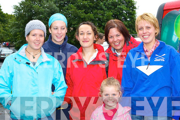 Alison Kirwan, Eileen Mangan, Bobby Corcoran, Natalie Sheehan, Sarah Mangan and Anna Horan Callinafercy having fun the Killorglin regatta on Sunday.