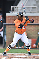 Tennessee Volunteers left fielder Christin Stewart (20) awaits a pitch during a game against the Georgia Bulldogs at Lindsey Nelson Stadium March 21, 2015 in Knoxville, Tennessee. The Bulldogs defeated the Volunteers 12-7. (Tony Farlow/Four Seam Images)