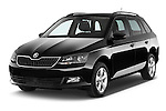 2015 Skoda Fabia Ambition 5 Door Wagon Angular Front stock photos of front three quarter view