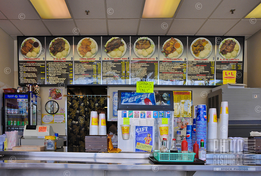 The plate lunch counter at L&L Hawaiian Barbecue, Hawai'i.