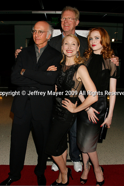 """WEST HOLLYWOOD, CA. - June 08: (L-R) Actors Larry David, Patricia Clarkson, Ed Begley Jr. and Evan Rachel Wood arrive at the Los Angeles premiere of """"Whatever Works"""" at the Pacific Design Center on June 8, 2009 in West Hollywood, California."""