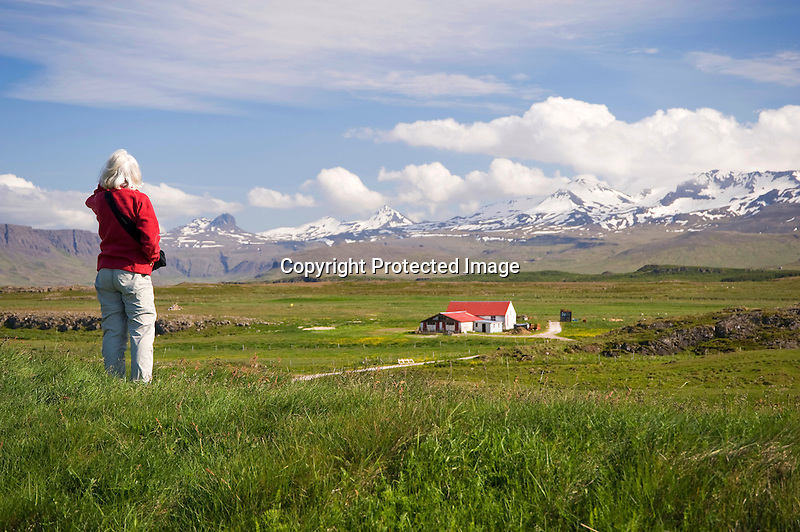Enjoying View of Mountains and Helgafell Valley near Stykkisholmur in Iceland