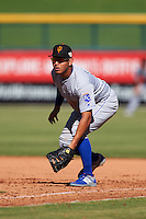 Surprise Saguaros Mauricio Ramos (9), of the Kansas City Royals organization, during a game against the Mesa Solar Sox on October 14, 2016 at Sloan Park in Mesa, Arizona.  Mesa defeated Surprise 10-4.  (Mike Janes/Four Seam Images)